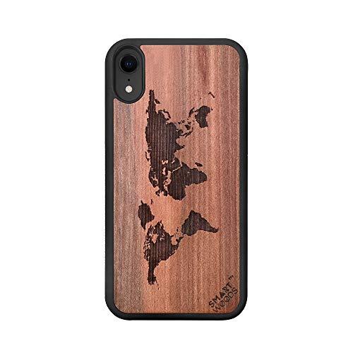 SmartWoods case voor IPhome XS MAX, houten smartphonetas, houten tas, milieuvriendelijk en natuurlijk, origineel (World Map)