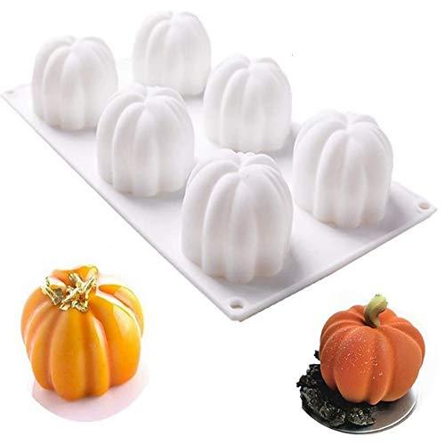 N /C DIY Pumpkin Cake Molds for Baking - 3D Halloween Silicone Pumpkin Mold 6 Cavities Cupcake Baking Pan Mold Tray for Candy Chocolate,Cheesecake Dessert Handmade DIY Soap Making (White)