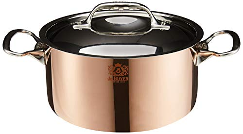PRIMA MATERA Round Copper Stainless Steel Stewpan 8-Inch with lid