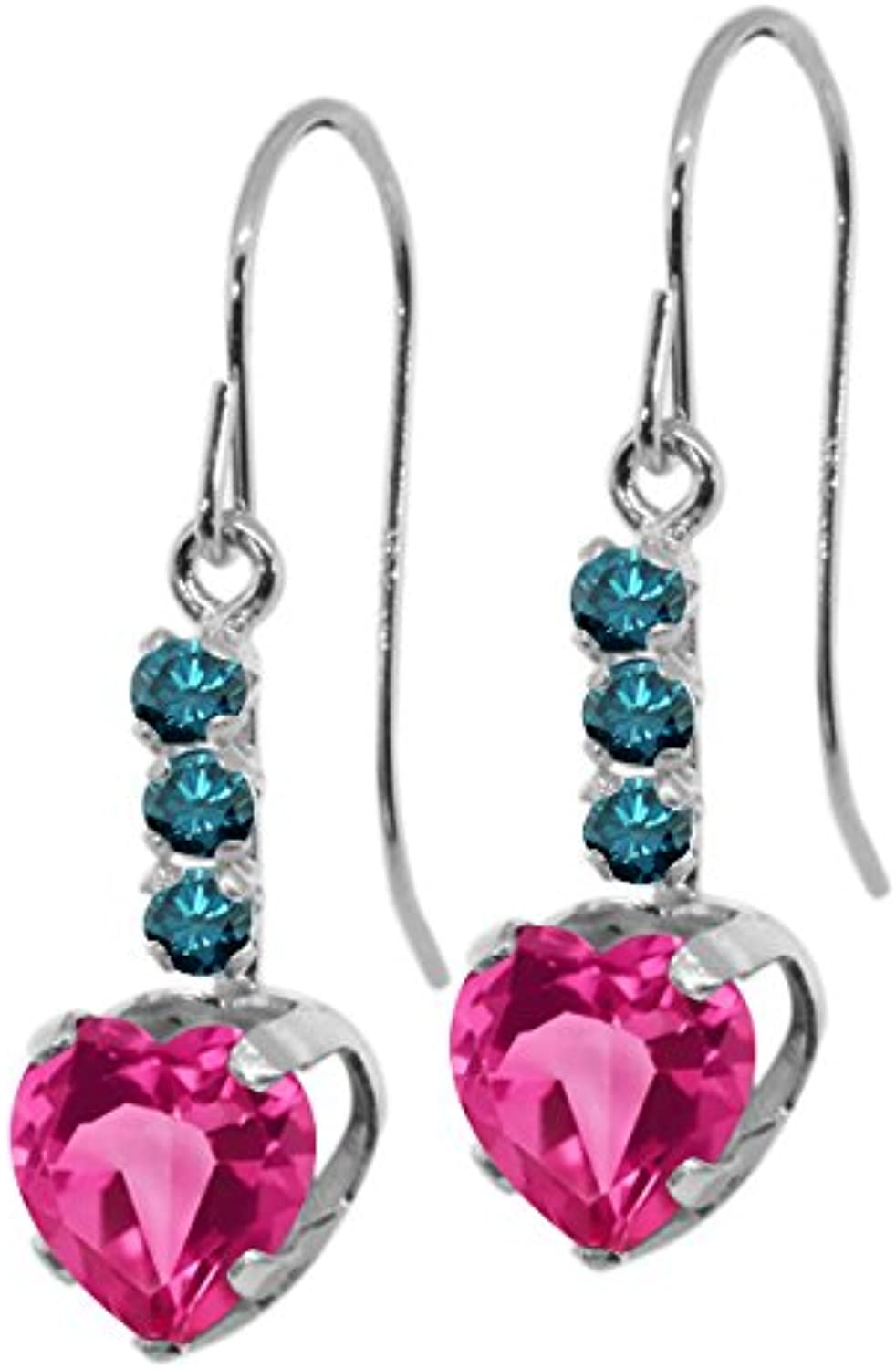 2.00 Ct Heart Shape Pink Mystic Topaz bluee Diamond 14K White gold Earrings