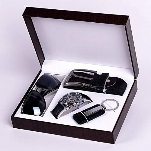 Yzki Ensemble cadeau pour homme en cuir artificiel Ceinture mode lunettes de soleil montre à quartz porte-clés Coffret cadeau pour homme Saint Valentin Anniversaire, Noir , Taille unique