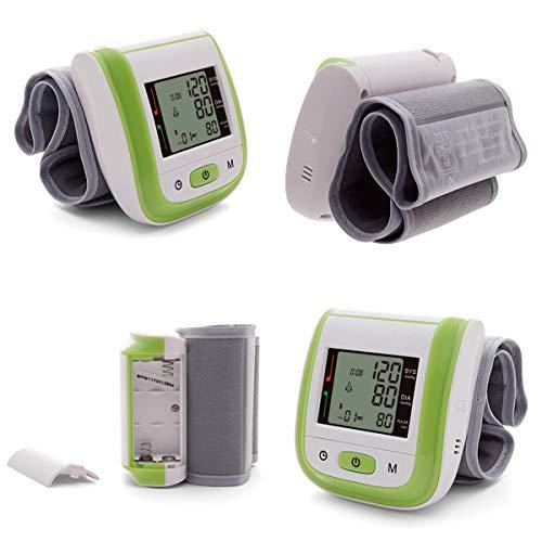 Monitor De Presión Arterial De Muñeca Para El Hogar, Gran Pantalla LCD Aparato Para Medir La Tension Arterial Con Detección De Frecuencia Cardíaca, Modo Usuario Dual 198 Capacidad Memoria,Verde