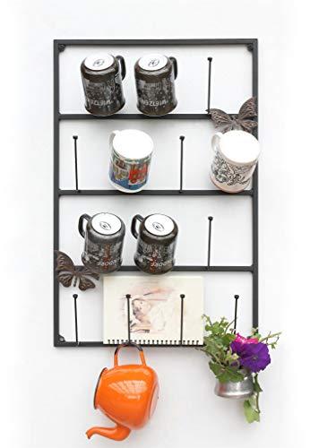 DanDiBo Tassenhalter Wand Schwarz Metall 60 cm 93850 Tassenhaken Küche Vintage Antik Becherhalter Tassenständer Tassenregal Wandmontage