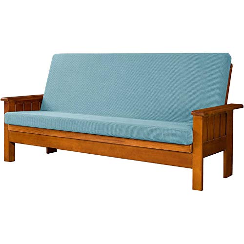 HUNOL Protector para Futón Couch, Lavable Funda elástica de Sofá Sin Brazo Antideslizante Cubierta de Sofá Cama Sin Reposabrazos Protector de Muebles para Niños Mascotas-Azul Claro-Clic clac