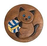 ROMBOL Handgefertigter Kinderhocker, Holz, Kinderhocker:Katze mit großem Ball