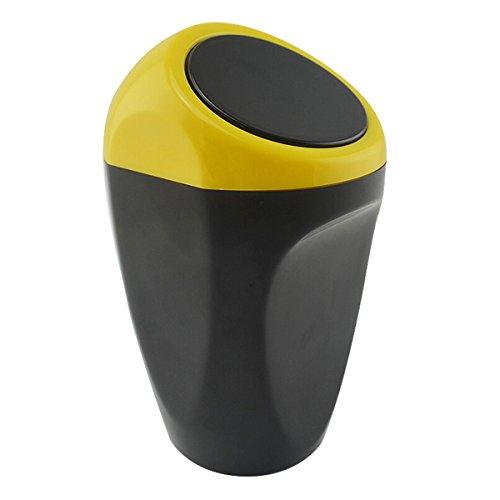 Mini Poubelle de Voiture WINOMO Poubelle Plastique avec Couvercle Jaune Noir