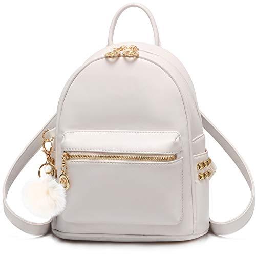 I IHAYNER Backpack for Women Ladies Small Girls PU Cute Hairball Waterproof Rucksack School Bag Purse Beige