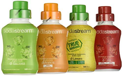 SodaStream 4 Concentrati per la preparazione di bibite al Gusto di Gazzosa, Cola, Limone, Arancia -  4 x 500 ml