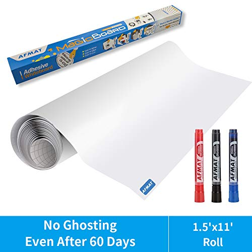 White Board Sticker, Whiteboard Paper, Upgrade PET-No Ghost, 1.5x11ft, Super Sticky, Stain-Proof Dry Erase Film Self Adhesive Wall Paper Roll for Classroom/Office/Kids Painting, 3 Dry Erase Markers
