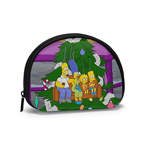 Los Simpson sentados en un Enorme árbol de Navidad Mini Bolsa de Almacenamiento de Cambio de Llaves para Hombres Billetera de Billetes para Mujeres