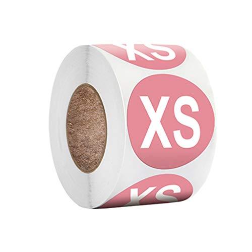 LYWYOUDDKH 500pcs Etiquetas Adhesivas Coloridas Redondas del tamaño de la Ropa Etiquetas Adhesivas para el Sombrero del Zapato - XS #