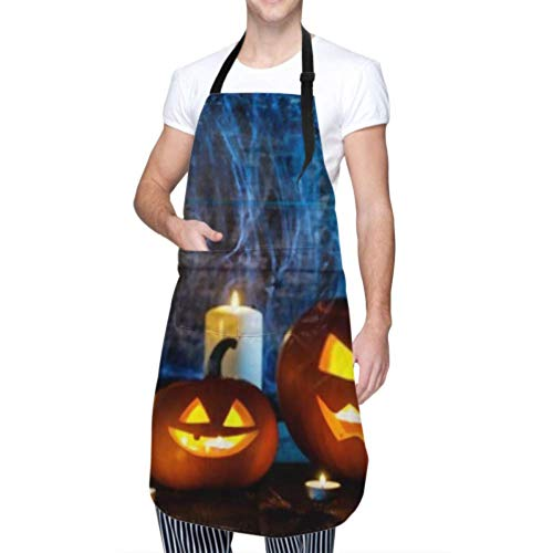 RAUP Unisex Schürze, wasserdicht langlebig verstellbar Jack O Laterne Halloween Kürbisse Spinnen Kochschürzen Mädchen Schürze für Geschirrspülen Grill Grill Garten