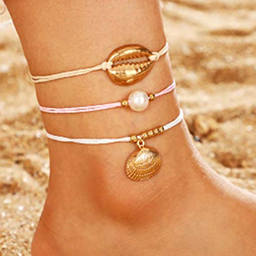 Aetorgc Boho Layered Anklet Pearl Foot Chain Shell Anklet Bracelets Jewelry for Women and Girls
