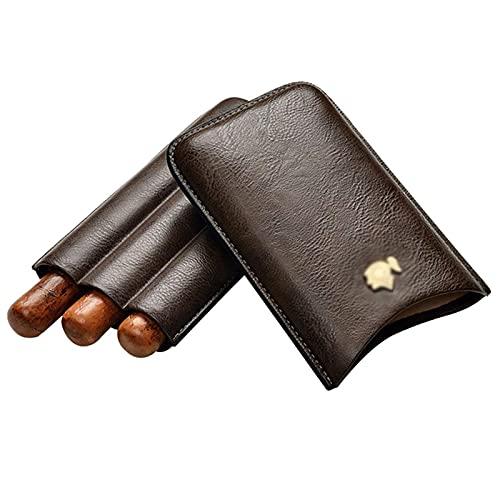 FGVDJ Humidor Cigar Moisture Case 3pcs-Trousse en Cuir de Voyage Boîte-Cadeau Doublée en Cuir gaufré Voyage Bicolore