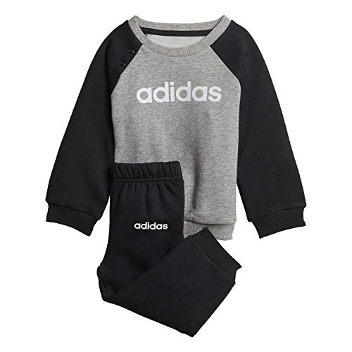 adidas Baby Linear Jogger Trainingsanzug, Top:Medium Grey Heather/Black Bottom:Black/White, 92 (L)