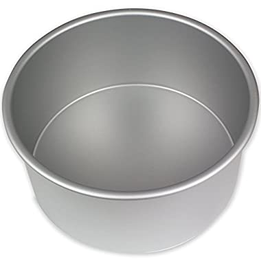 PME RND084 Round Seamless Professional Aluminum Baking Pan, 8  x 4 , Silver
