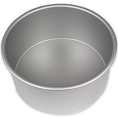 PME RND084 Round Seamless Professional Aluminum Baking Pan, 8  x 4 , Silver
