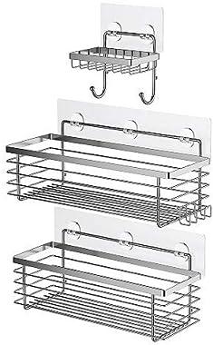 ODesign Shower Caddy Basket with Hooks Soap Dish Holder Shelf for Shampoo Conditioner Bathroom Storage Organizer SUS304 Stain