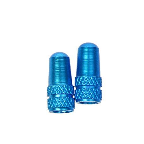 Generic 2 Bouchons de Valve Coloré Couvre Valve Anti-poussière Robuste en Alliage d'aluminium Résistant Corps Moletée pour Vélo VTT - Bleu Clair