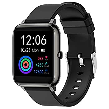 EIGIIS Smart Watch Fitness Tracker Heart Rate Blood Pressure Blood Oxygen Monitor Music Control IP68 Water Resistant 1.4  Color Touch Screen Activity Tracking Pedometer for Women Men  Black