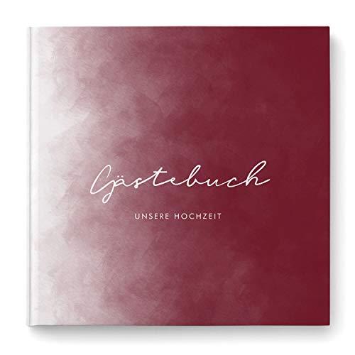 DeinWeddingshop Gästebuch zur Hochzeit - Hardcover Buch quadratisch - Hochzeitsgästebuch...