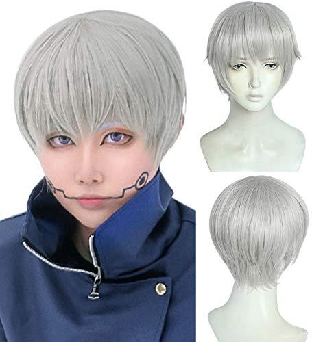 ANOGOL Wig Cap+SilverCosplay Wig Men Synthetic Hair Short Wavy Wigs with Bangs for Boy
