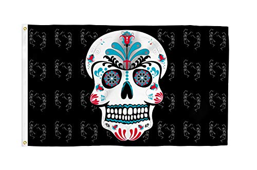Sugar Skull 3x5 Foot Halloween Holiday Flag - Bold Vibrant Colors, UV Resistant, Golden Brass Grommets, Durable 100 Denier Polyester, Mighty-Locked Stitching - Perfect for Indoor or Outdoor Flying!