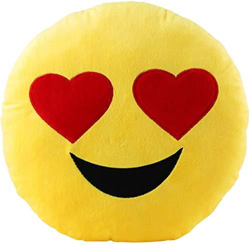 Brigamo Emoticon Kissen AUS PLÜSCH, 30 cm Durchmesser, Plüsch Dekokissen (Herzaugen)