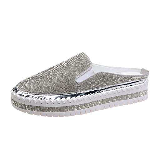 Espadrilles Damen Slip On Sneaker Plateau Strass Slipper mit Glitzer-Optik, Frauen Mokassins Loafer Freizeitschuhe Low Top Flache Schuhe Schöner Damenschuhe Celucke (Silber, 40EU)