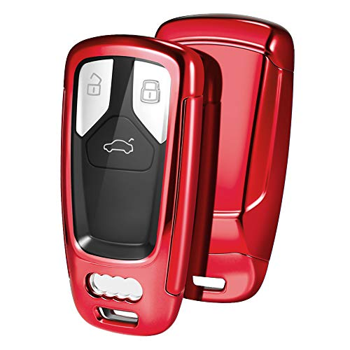 OATSBASF Autoschlüssel Hülle kompatibel mit Audi A4L A6L A8 Q5 Q7 TTS TT,Seat 3-Tasten Schlüsselhülle Cover TPU Schlüsselbox (Rot)
