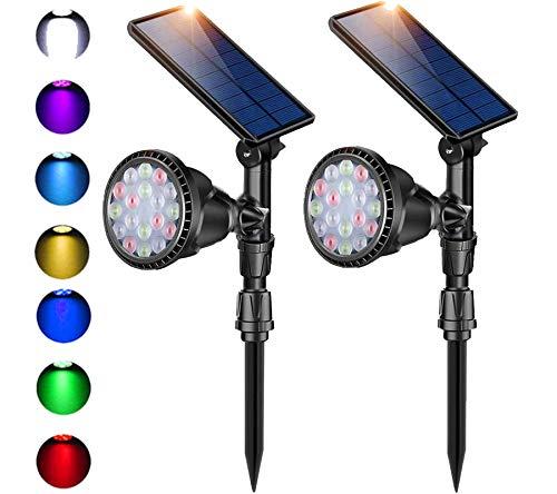Outdoor Solar Spot Lights,Super Bright 18 LED Security Lamps Waterproof Spotlight for Garden Landscape Path Walkway Deck Garage (7 Colors, 2 Pack)