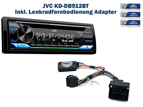 Autoradio KD-DB912BT (DAB+) geeignet für Citroen C2 | C3 | C4 | C5 | C8 | DS3 | C3 Picasso | C4 Picasso | Berlingo | Jumpy inkl. Lenkrad Fernbedienung Adapter