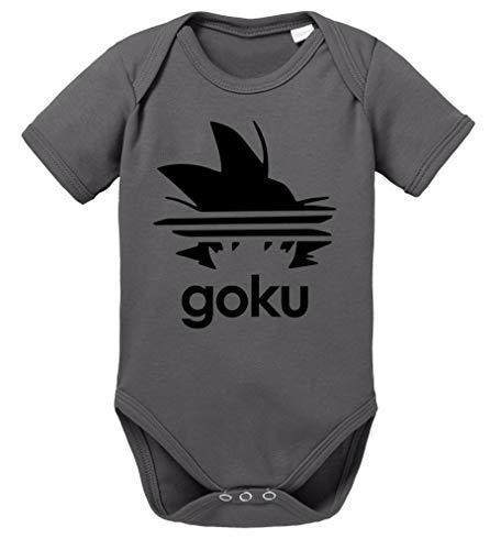 Adi Goku Dragon Son Baby Ball Strampler Bio Baumwolle Body Jungen & Mädchen 0-12 Monate, Größe:62/2-3 Monate, Farbe:Dunkel Grau