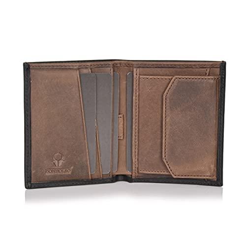 DONBOLSO® Rom 2.0 I Mini Geldbörse mit RFID-Schutz I Slim Wallet mit Münzfach I echtes Leder I Geldbeutel Herren (Schwarz-Braun Vintage, mit Münzfach)