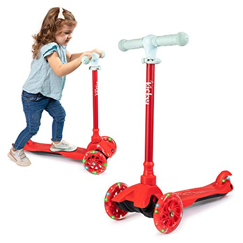 KicksyWheels Scooters for Kids  3 Wheel Toddler Scooter for Boys amp Girls  Toddlers and Kids Toys for 2 Years Old and Up  Three Heights amp Light Up Wheels Nordic Red w/o Seat