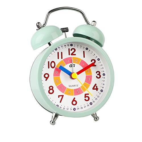 DTKID Wecker,Analoger Wecker Kinder, Kompakt Nicht Tickendes Bett Reise Silent Wecker mit Lautem Alarm, Nachtlicht, Snooze, Batteriebetriebene Weckuhr (Grün)