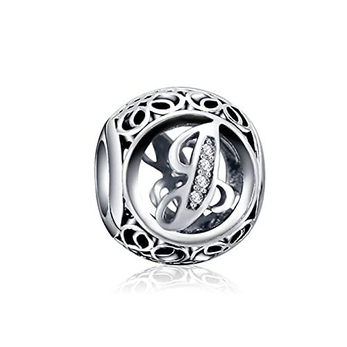 YYFHHK Charm Amuletos De La Suerte De La A A La Z Alfabeto Plata De Ley 925 Abalorio De Letras Ajuste Original 3Mm Pulseras Colgante DIY Fabricación De Joyas