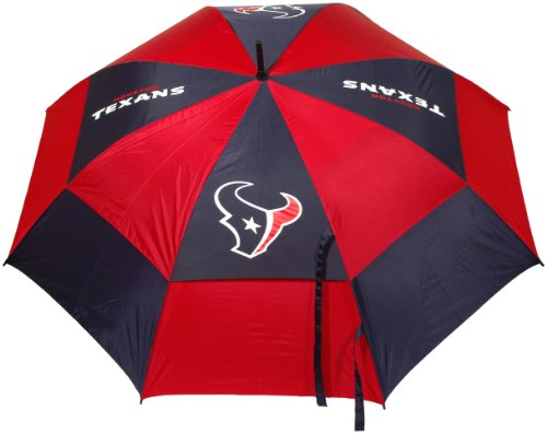Team Golf NFL 62' Golf Umbrella with Protective Sheath, Double Canopy Wind Protection Design, Auto Open Button, Houston Texans