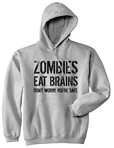 Zombies Eat Brains So Youre Safe Hoodie Funny Costume Halloween Sweatshirt (Light Heather Grey) - M