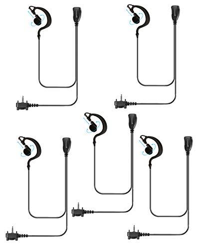 5 Pack Single Wire Earhook Earpiece for Motorola Vertex Radios VX-210 VX-231 VX-261 VX-264 VX-351 VX-354 VX-410 VX-424 VX-450 VX-451 VX-454 VX-459 EVX-261 EVX-531 EVX-534 EVX-539, G Shape Headset