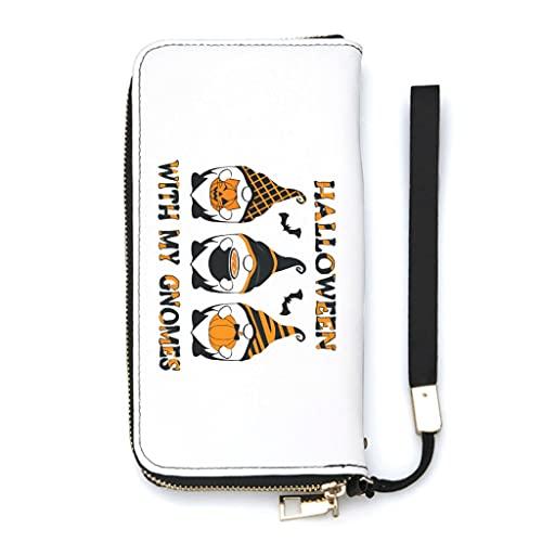 Ktewqmp Cartera de mano larga con bolsillo para teléfono móvil y cremallera, para mujer, con muchos compartimentos para tarjetas, protección de piel sintética, caja de regalo, Blanco, Einheitsgröße