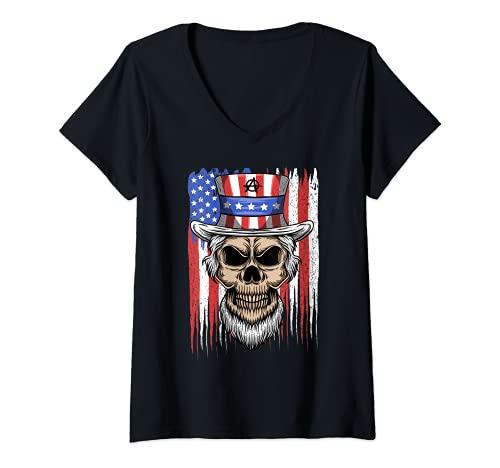 Mujer Disfraz de Anarquista de Halloween para regalo de protesta Camiseta Cuello V