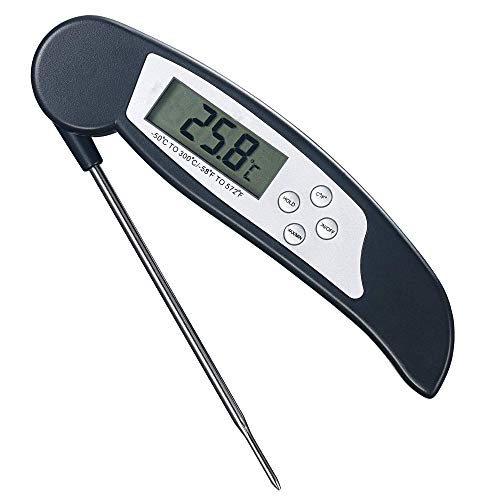 Termometro Cocina Digital, Termómetro Digital de Cocina para Carne Barbacoa Comida Liquidos Aceite, Termometro Alimentos con Pantalla LCD para Lectura Instantánea, para Capuccino y Leche