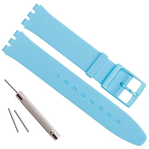 Ultra-sottile Swatch ricambio 16 mm impermeabile in silicone orologio da polso Watch Band (16 mm, Light Blue)