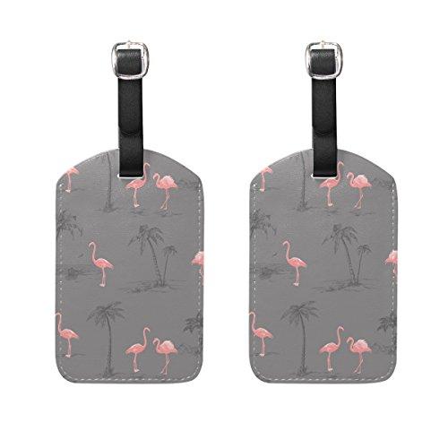 COOSUN Pink Flamingo Kofferanhänger Reise Labels Tag-Namenskartenhalter für Gepäck Koffer Tasche Rucksäcke, 2 PCS Mittel Mehrfarbig