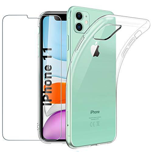 Easyacc Coque Iphone 11 Transparente Verre Trempé écran Protecteur Souple étui Protection Bumper Housse Clair Doux Tpu Gel Case Cover Pour Iphone