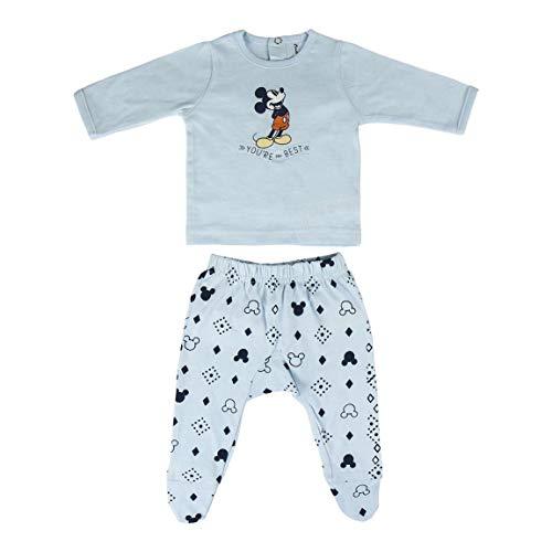 Cerdá Conjunto Ropa Disney Bebe de Mickey Mouse Juego de Pijama, Azul Claro, 1 Mes para Bebés