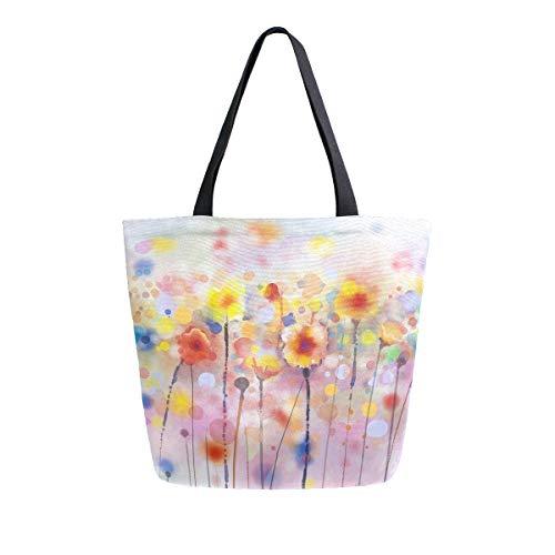 Mnsruu bolsa de compras para mujer con diseño de amapolas, bolsa de mano grande informal para ir de compras, ir al gimnasio