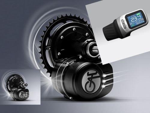 TONGSHENG 36V 350W SFM Mittelmotor LCD Display XH 18 ohne Rücktritt Umbaukit e-Bike Pedelec E-Fahrrad