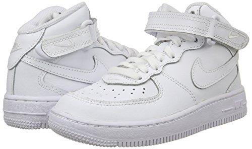 Nike Force 1 Mid (PS), Zapatillas de Baloncesto Niños, Blanco (White/White/White 113), 30 EU